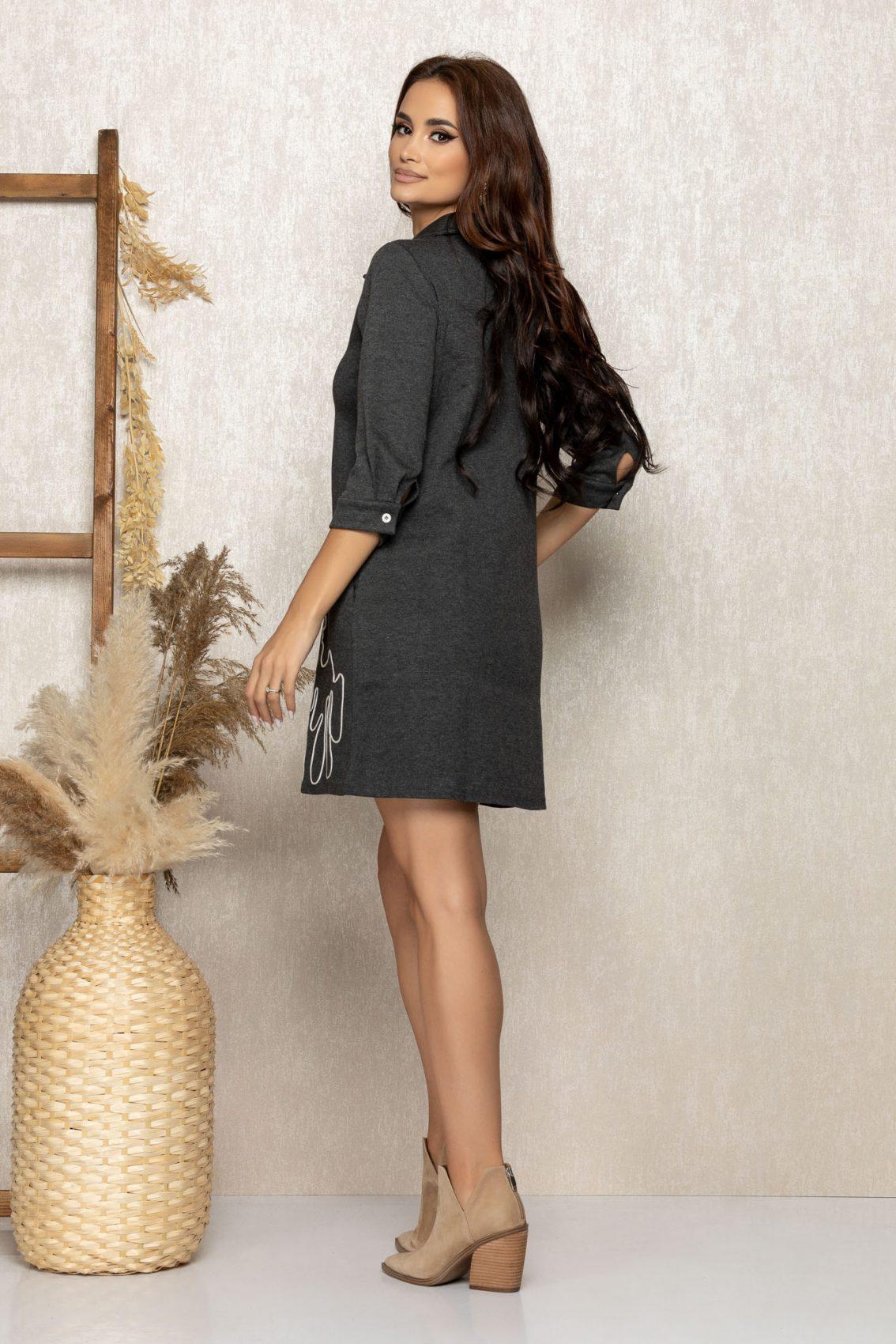 Γκρι Καθημερινό Φόρεμα Dolyn 9246 2