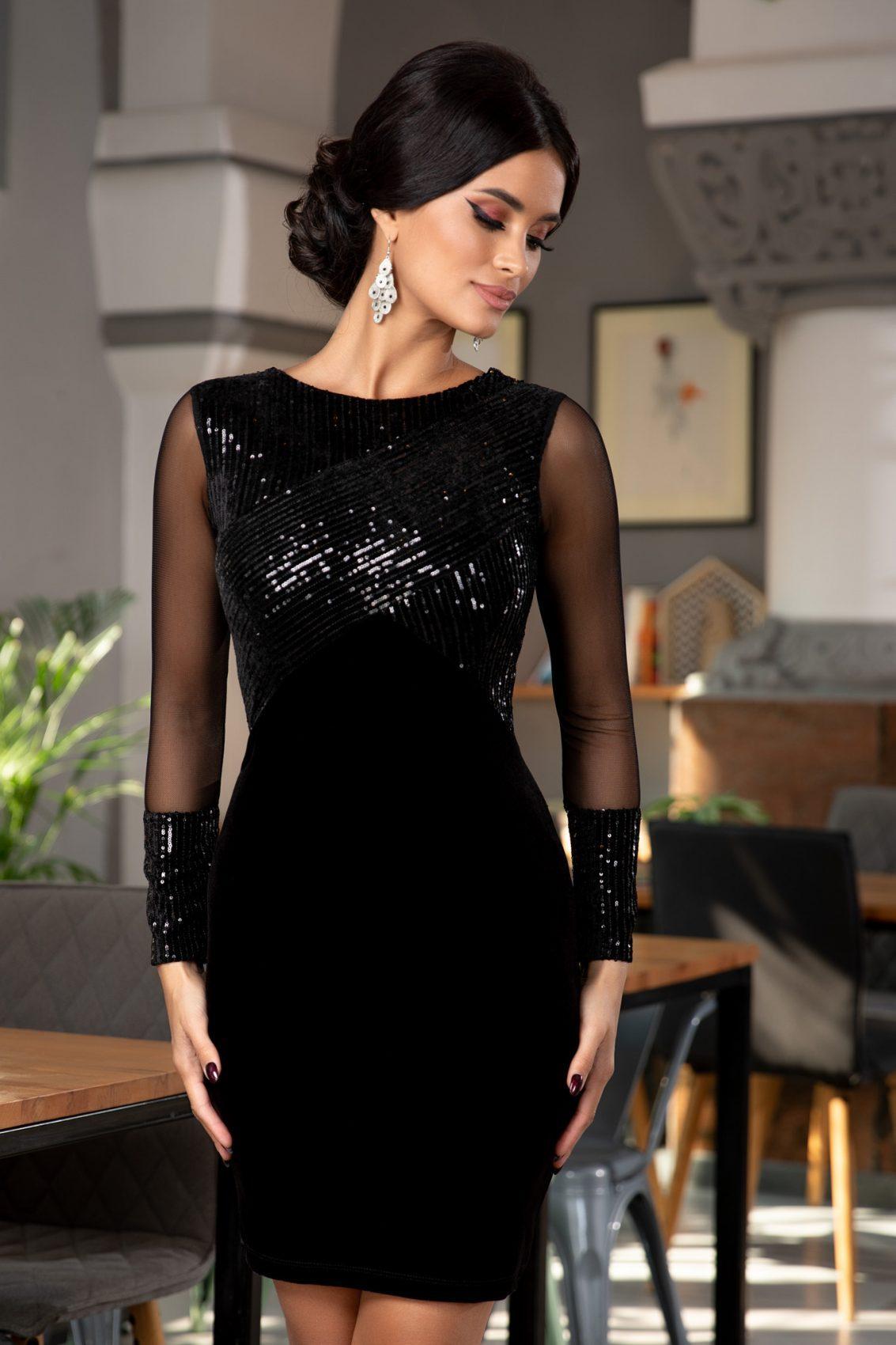 Μαύρο Αμπιγιέ Φόρεμα Από Βελούδο Ruby 5374 4