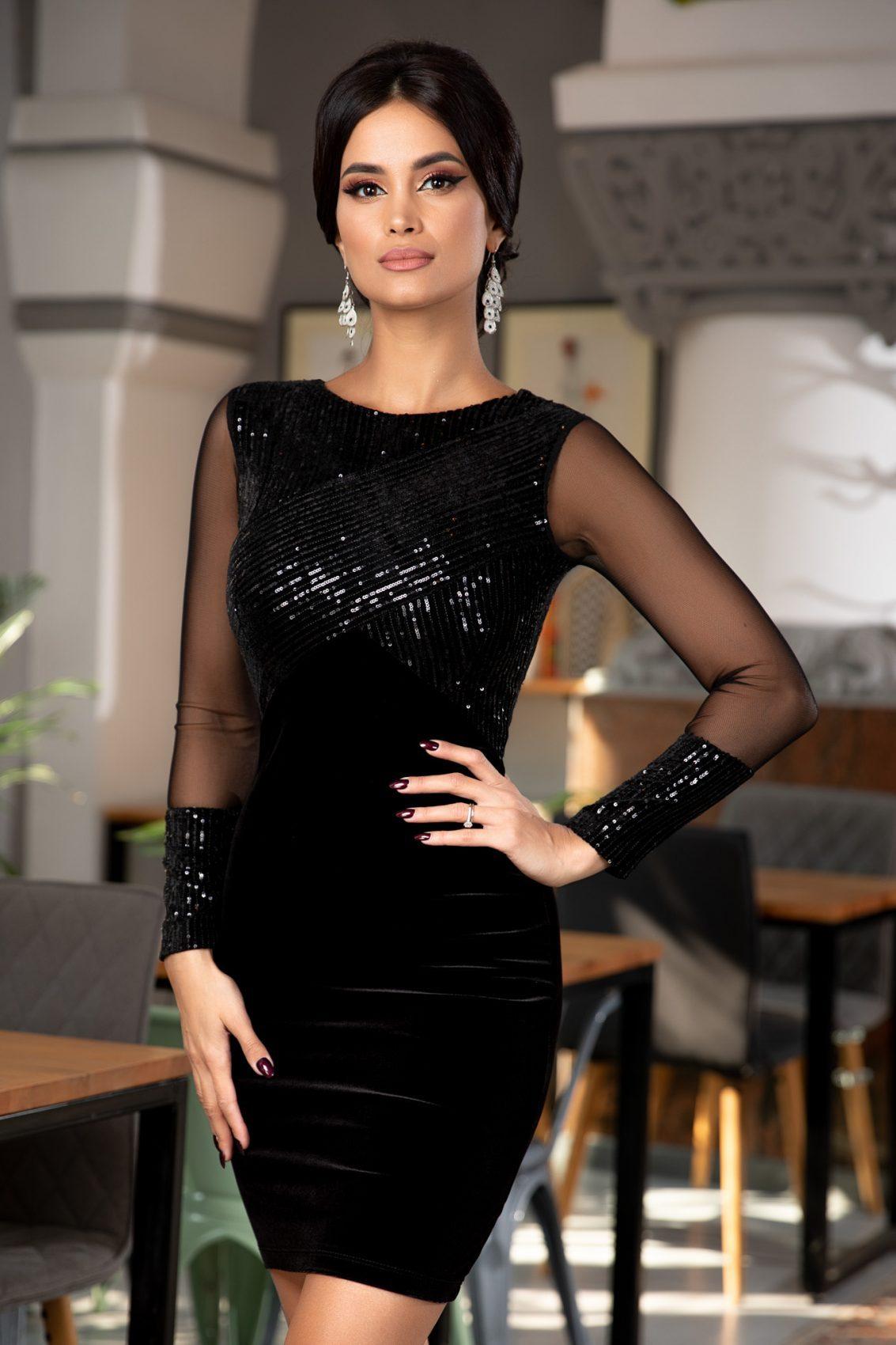 Μαύρο Αμπιγιέ Φόρεμα Από Βελούδο Ruby 5374 2