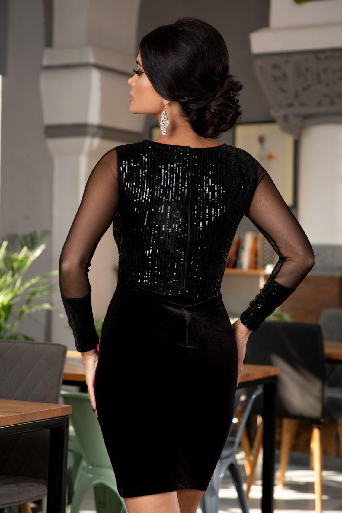 Μαύρο Αμπιγιέ Φόρεμα Από Βελούδο Ruby 5374 3