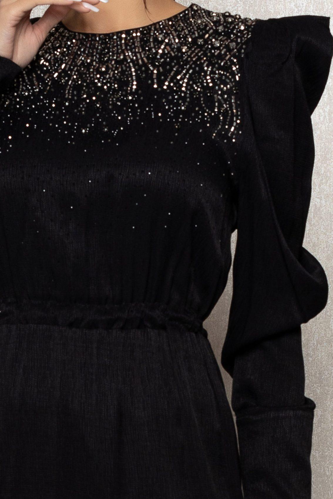 Μαύρο Μίντι Μακρυμάνικο Βραδινό Φόρεμα Brisha T346 7