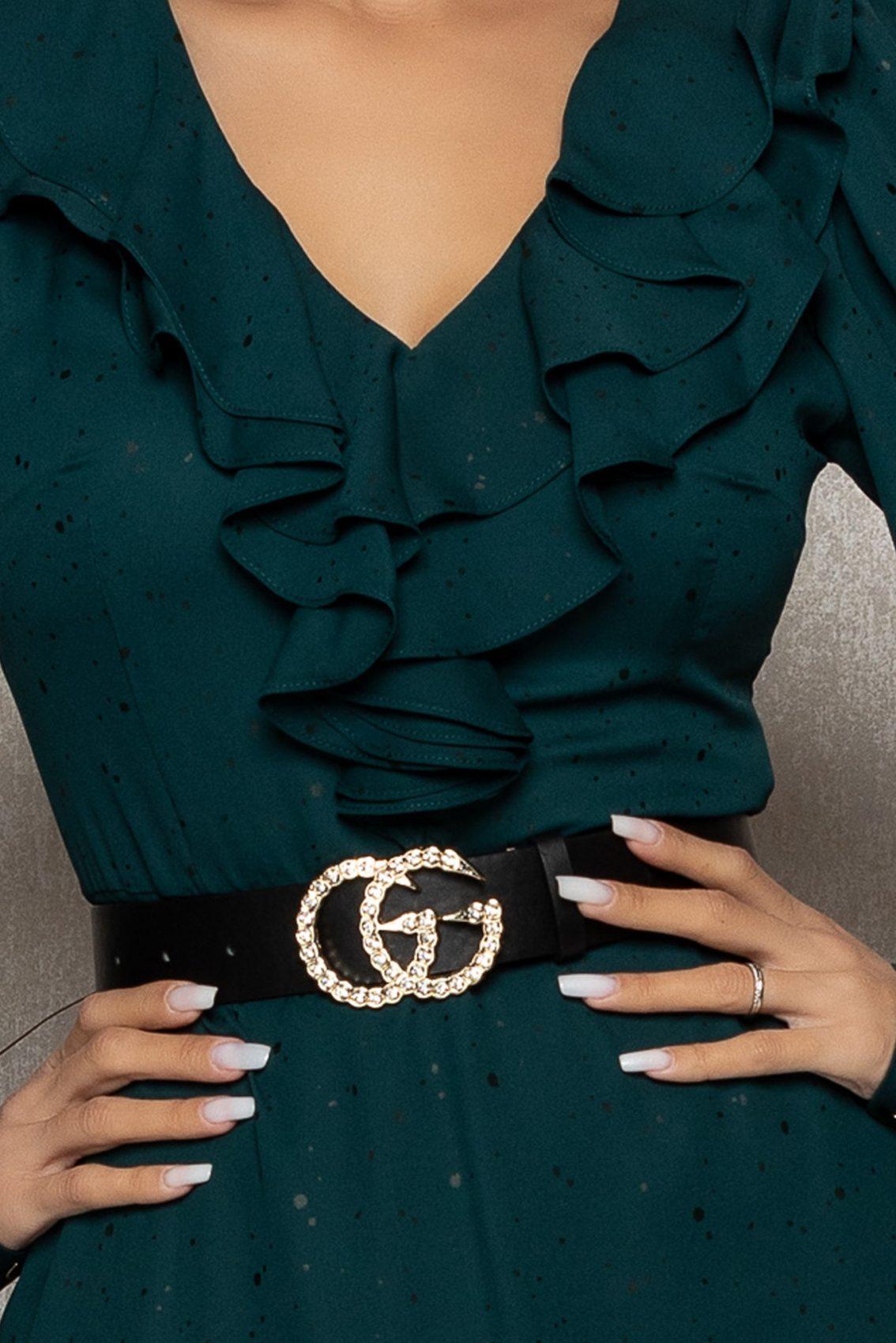 Πράσινο Μίντι Βραδινό Φόρεμα Με Βολάν Lysandra T401 3