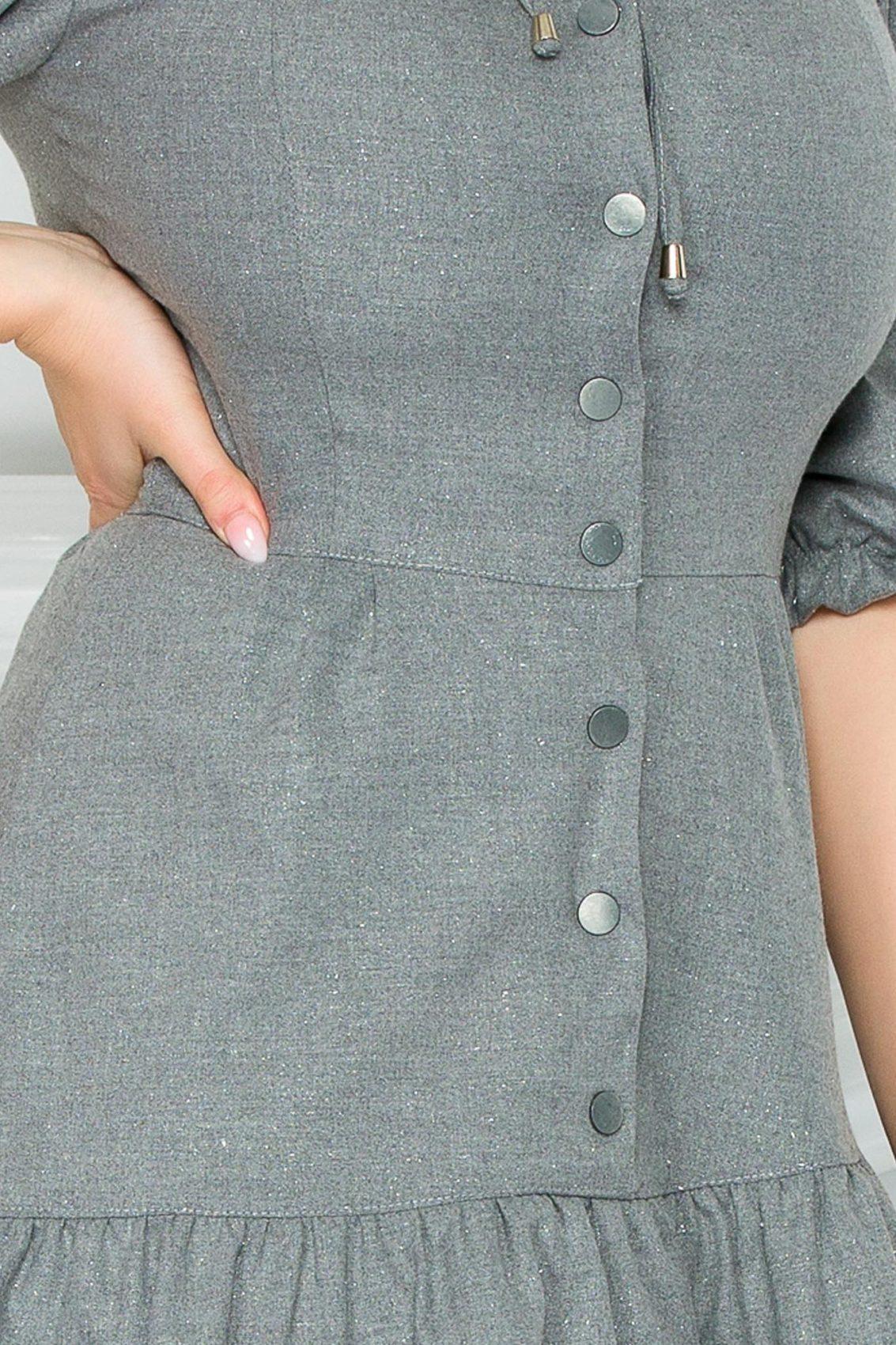 Γκρι Μίνι Φόρεμα Με Βολάν Callie 9300 3