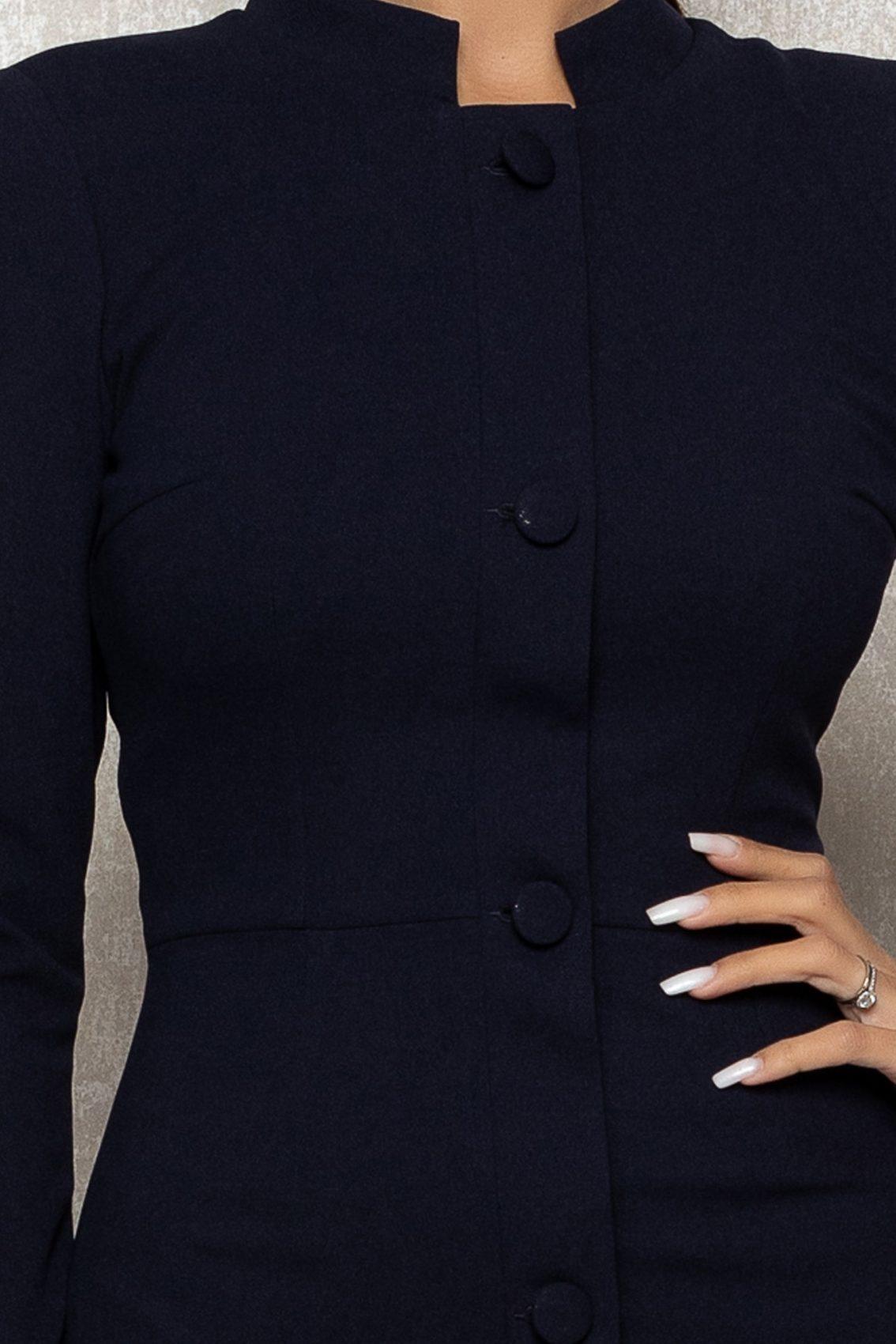 Μπλε Μίντι Σεμιζιέ Φόρεμα Lorette T353 3