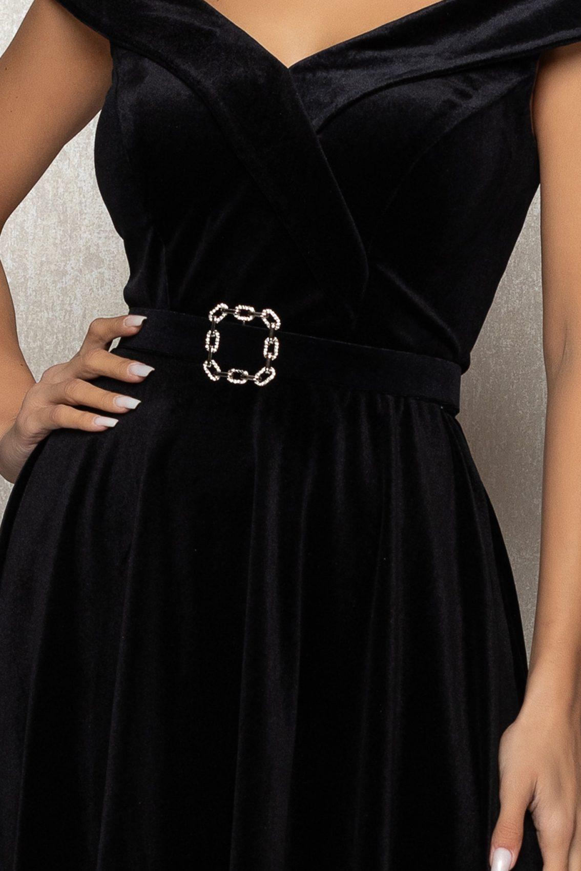 Μαύρο Αμάνικο Αμπιγιέ Φόρεμα Από Βελούδο Yovanna T372 3