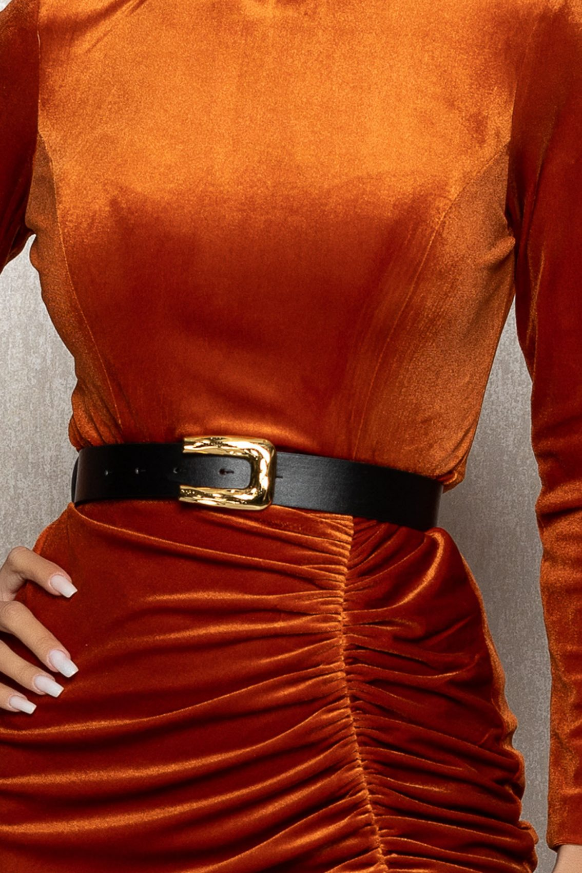 Κεραμιδί Μίντι Φόρεμα Από Βελούδο Lady T387 3