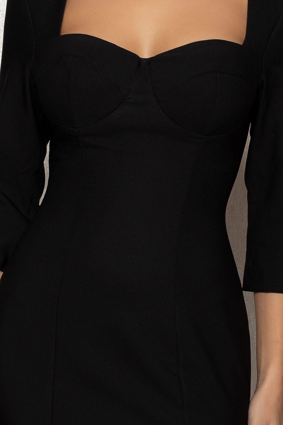 Μαύρο Μίντι Βραδινό Φόρεμα Minerva T395 3