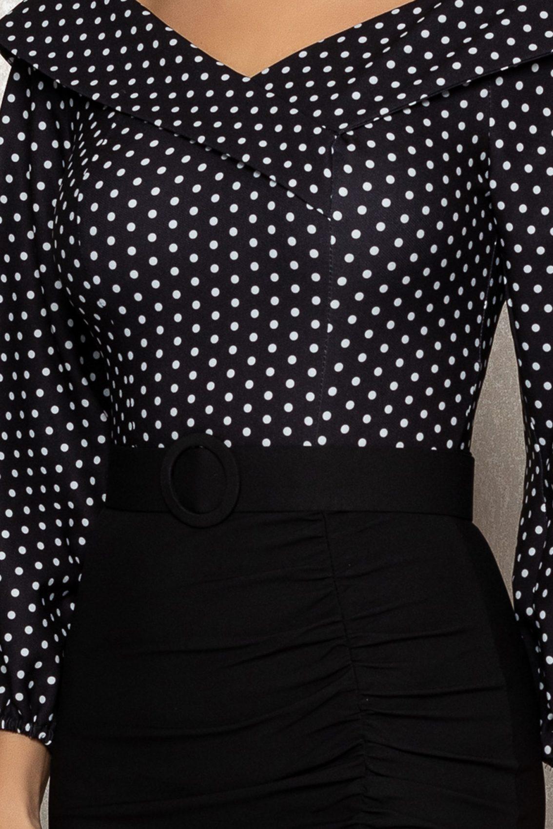 Μαύρο Πουά Μίντι Φόρεμα Nicky T389 3