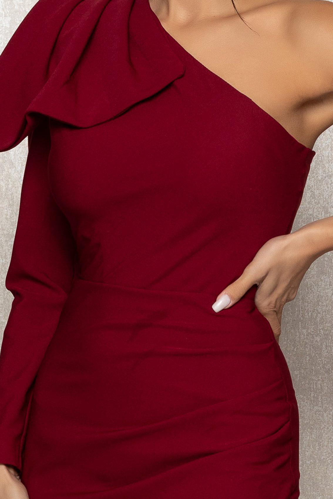 Μπορντό Μίντι Βραδινό Φόρεμα Με Κρόσια Fortuna T393 3