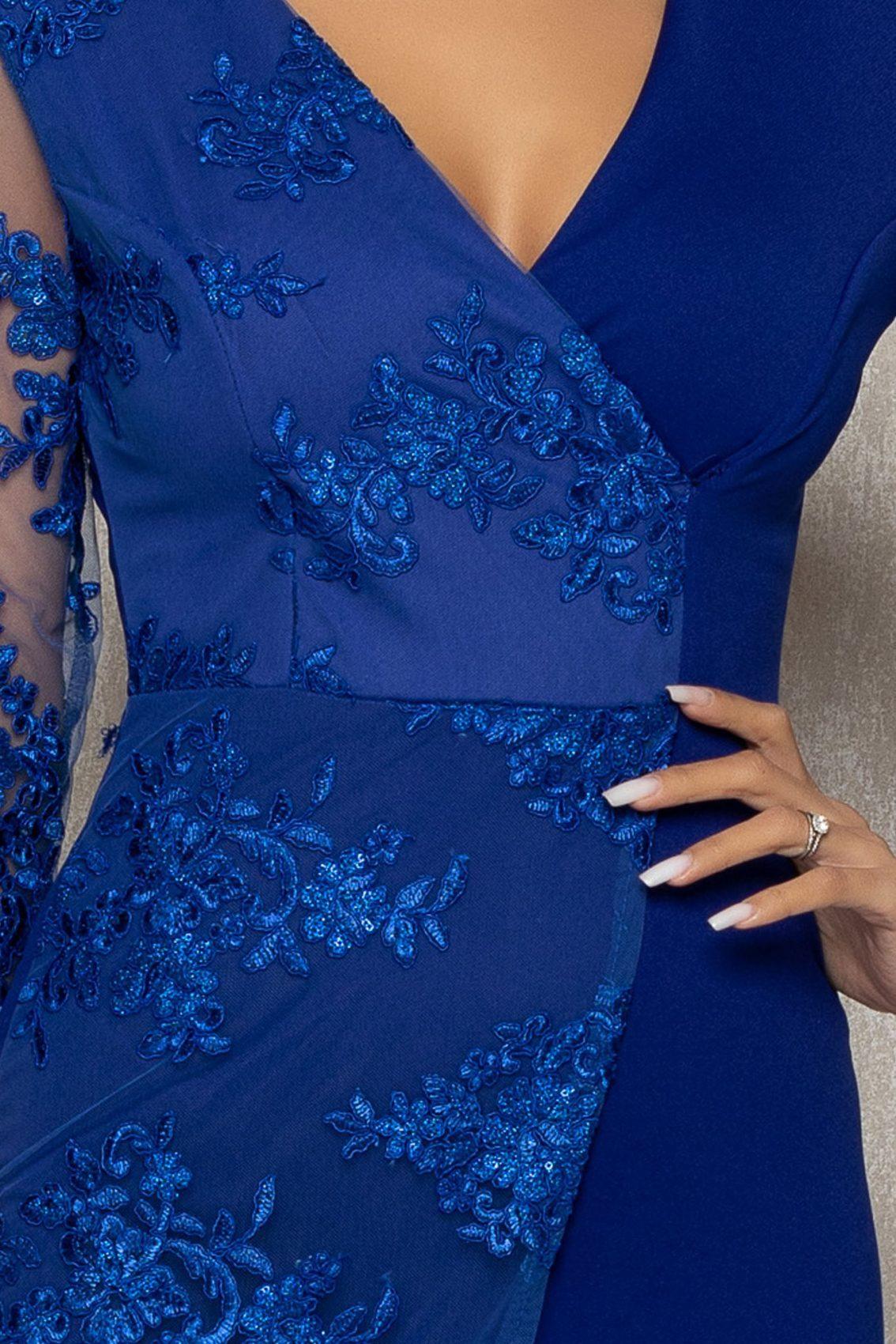 Μπλε Ρουά Αμπιγιέ Κρουαζέ Φόρεμα Με Δαντέλα Verona T381 3